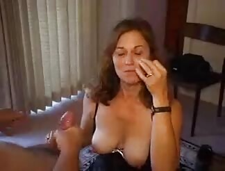 Hot wife getting a full load on her face